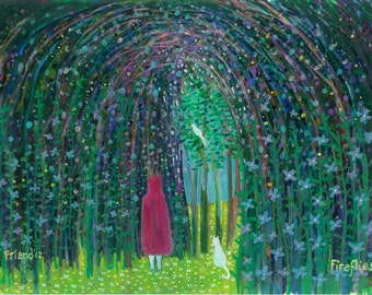 Fireflies. A ltd edition, numbered and signed A4 print from an Original Painting by Richard Friend