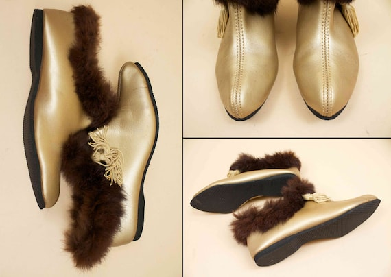 5 5 Vtg Bootie 36 5 Mod Leather 60s PIXIE Slipper Tassle Ankle 6 Eu Vinyl Fur Flats Boot Pointed GOLD Toe 50s 35 Rabbit BZSTgqnn