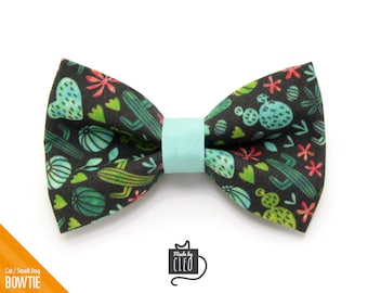 "Cactus Cat Bow Tie - ""Desert Night"" - Succulent Garden Cat Collar Bow Tie / Kitten Bow Tie / Small Dog Bowtie / Boho / Removable (One Size)"