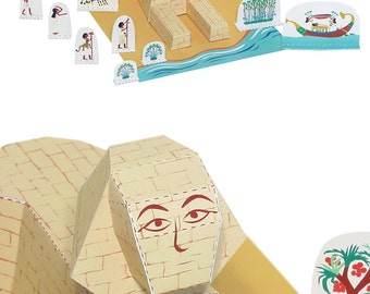 Sphinx Paper Toy - Paper Toy - DIY Paper Craft Kit - 3D Model Paper Figure