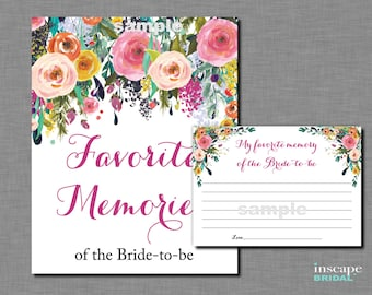 Favorite Memories of the Bride To Be Game Printable,  Bride-to-Be, Floral Shower Game, Bridal Shower Activity, Memories of the Bride-To-Be