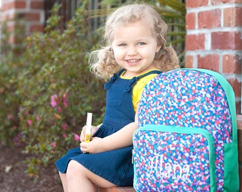 Monogrammed Preschool Backpack Confetti Pop  Monogram Kids School