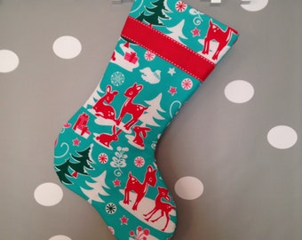 Made to Order - Red Deer on Teal Modern Christmas Stocking with Red Ribbon and Lining