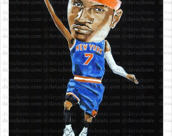 Photo print from an original painting of Carmelo Anthony, New York Knicks