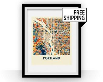 Portland Map Print - Full Color Map Poster