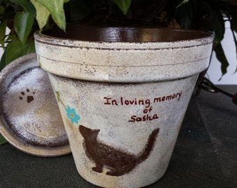 Cat Memorial Gift - Dog Memorial Gift - Painted Flower Pot - Rustic with Paw Prints - Pet Sympathy Gifts