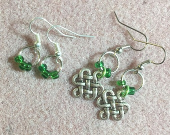 2 Pairs of Earrings, CELTIC, KELLY GREEN, Celtic Knotwork