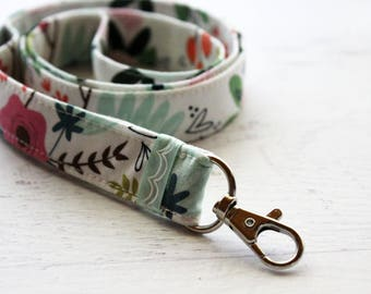 Key lanyard - cute girly lanyard - ID badge holder - floral lanyard - work lanyard - teachers gift - school lanyard - key fob lanyard