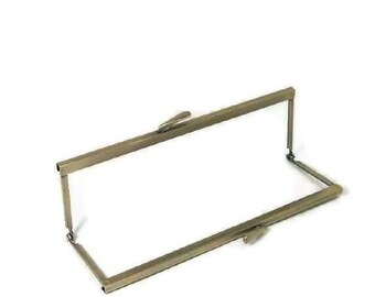 8 x 2.5 Antique Brass Purse Frame With Open Top Channel FREE U S SHIPPING