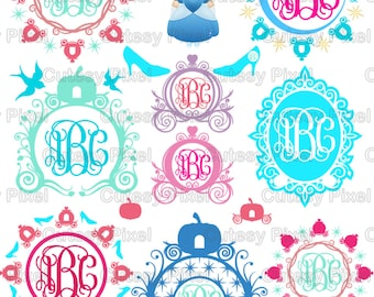 15 Princess monogram Frames Svg cutting file,princess carriage svg, princess cricut, SVG, DXF, Cricut Design Space, Silhouette Studio,