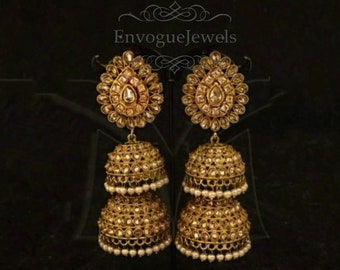 Indian jewelry, Big jhumka earrings, Pakistani jewelry, Bollywood jewelry, Bohomeian earrings, Jhumki, Statement earrings.