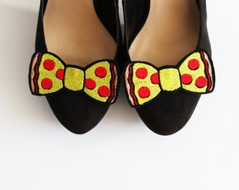 Pepperoni Pizza Bow Shoe Clips, Junk Food Accessories
