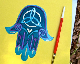 HAMSA Hand Magnet, protection, healing, abundance , rune, triquetra, Made To Order only