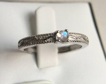 Adjustable ring 3mm tiny moonstone silver ring  Genuine Natural Blue Rainbow Moonstone