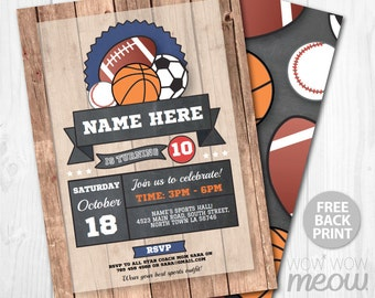 All Star Sports Party Birthday Invite Vintage Invitation INSTANT DOWNLOAD Baseball Basketball Soccer Football Personalize Editable Printable