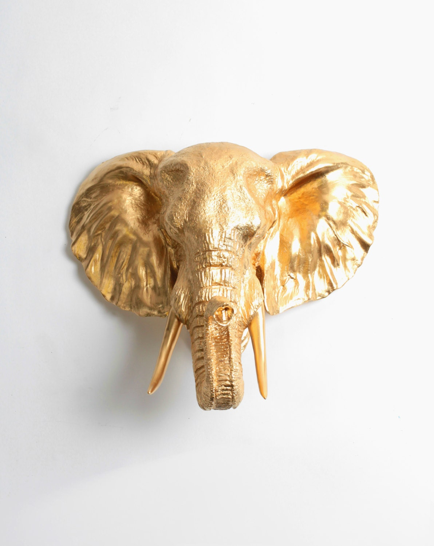 Faux Elephant Head Taxidermy The Toker Gold Resin Elephant