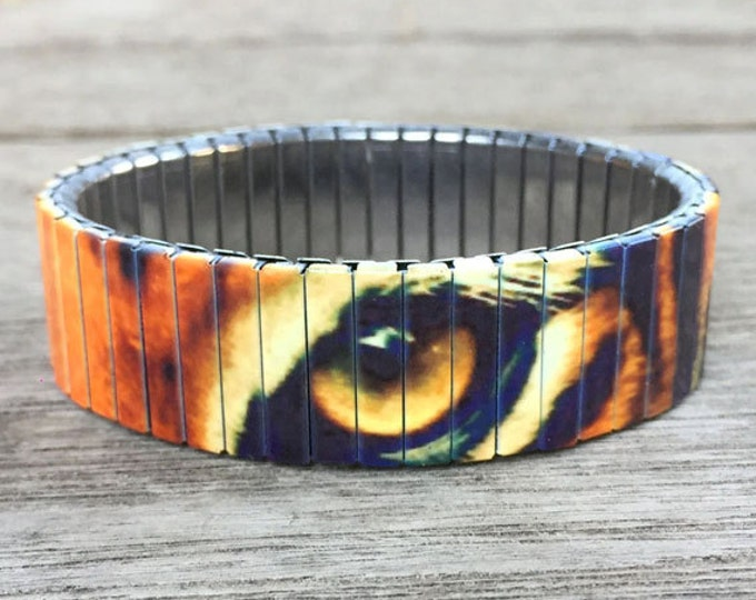 Tiger eyes-bracelet-Stainless Steel-Repurpose Watch Band-Stretch bracelet-Wrist Art-Sublimation-gift for friend