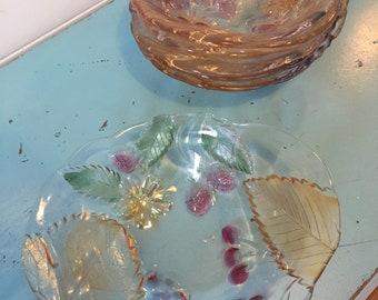 6 vintage glass fruit salad bowls
