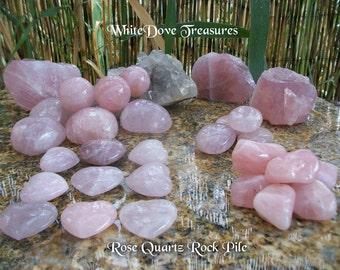Rose Quartz Gemstone Tumbled Polished & Rough ~ Rock Pile Choice ~ Heart Stone ~ Round Sphere ~ Free Form ~ Gemmy Raw Stone