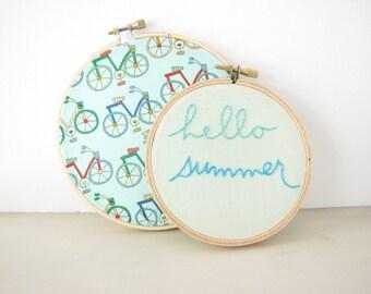 Hello Summer Embroidery Hoop Wall Art Set, sea green aqua mint turquoise beach house seasonal home decor bicycle ride hand lettering