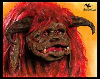 """8 x 10""""- Ludo - Labyrinth Film David Bowie Fantasy britische Jim Henson Fantasy Goblinkönig Dark Art Surreal magischen Ziggy Hoggle Monster zu drucken"""