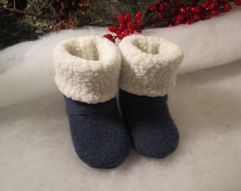 RESERVED FOR EVA Denim colored wool sock booties lined in Polartec fleece Size 6-9 mo