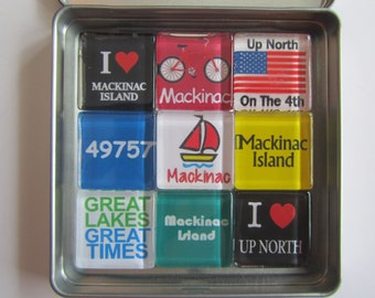 MACKINAC ISLAND, Up North Michigan, Michigan Magnets, Michigan Gift, Mackinac Magnets Set Souvenir, Mackinac, Mackinaw, Up North