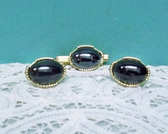 Mans Cufflinks & Tie Clasp ~ 1950s ~ 1960s Gold Tone Finish Large Black Oval Cabochon ~ Unisex Jewelry ~ Pat Number Cufflinks And Tie Bar