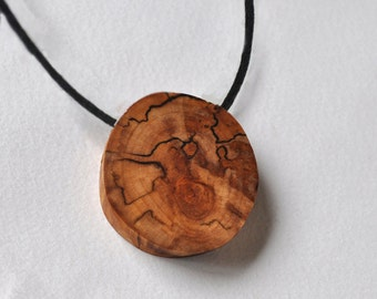 wooden necklace  •  birch wood pendant on a cotton cord