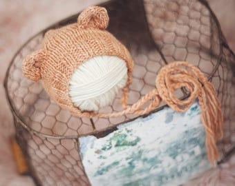 Baby Bear bonnet for NEWBORNS photography prop - Pale cinnamon