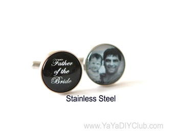 Father of the Bride cufflink, Father of Bride Gift , Unique Wedding Gift for Dad - Custom Cufflinks in Black and White Custom Photo Color