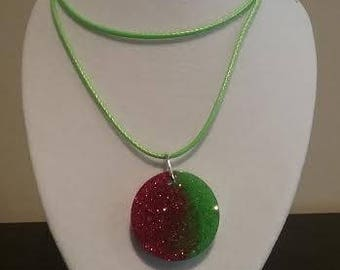 Red and Green Circle Christmas Pendant
