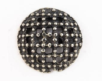 17mm Pewter Beaded Grid Button #BUT067