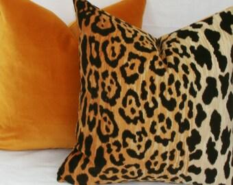 Leopard velvet pillow 16x16 18x18 20x20 22x22 24x24 26x26 28x28 12x20 12x22 12x24 13x26 14x24 14x26 16x24 16x26 Euro Lumbar Braemore Jamil