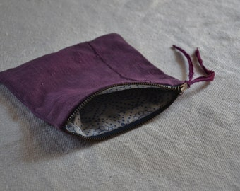Pink purple pouch witch moon bag organizer purse zip wallet cosmetics travel makeup earthy boho minimalist bohemian style natural cases