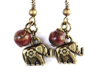 Elephant Earrings, Yoga, Jewelry, Bohemian, Buddhism, Gemstone, Meditation, Jasper, Bohemian Earth Designs, Gift for Her, Graduation Gift