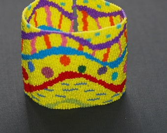 Celebration ... Bracelet . Wide . Beadwoven . Peyote . Whimsical . Colorful . Multicolor . Dots . Waves . Spots . Ripples . Party Wear