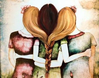 three sisters blonde and brown braided hair