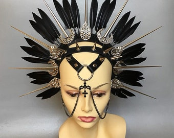 "Halo ""Queen of Damned"" - Gothic headpiece - spiky headpiece  - fetish headpiece - tribal headpiece - witches headpiece -  gothic headdress"