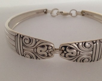 Spoon Bracelet. Wrist Size 6 to 9. Choose Your Size. Danish Queen 1944. Vintage Silverplate.  Spoon Rings.