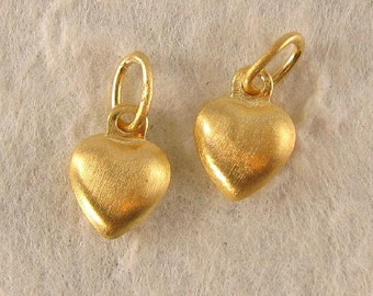 Vermeil Heart Charms Small 6mm Puffed Gold Heart Charms in Brushed Satin Finish  2 Hearts - Oakhill Silver Supply  - C47V