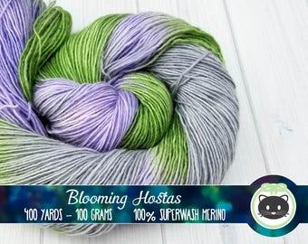 Green Purple Grey Variegated Hand Dyed Yarn, Singles Sock Yarn, 1-ply, Merino Wool Yarn, Fingering Yarn, Superfly Comfort, Blooming Hostas