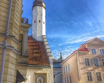 Clock tower steeple in ancient Tallinn, Estonia