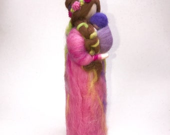 Waldorf mother and baby, feltart made of wool,
