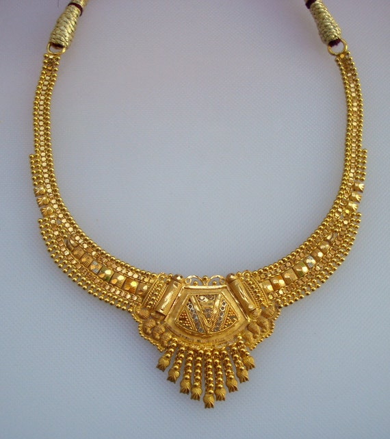 traditional design 20k gold necklace choker handmade belly