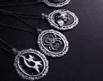 Black Halloween Necklace Witchy Jewelry Bat Cat Pumpkin Jack-o'-lantern Spider Halloween Jewelry silver Necklace Pendant Gothic Jewelry