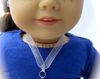 American Girl Sized Ribbon Necklace with Swarovski Crystal Drop