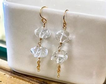 Genuine Clear Quartz Gemstone Earrings, Clear Quartz Dangle Earrings on 14K Gold, Gold Earrings, April Birthstone Earrings.