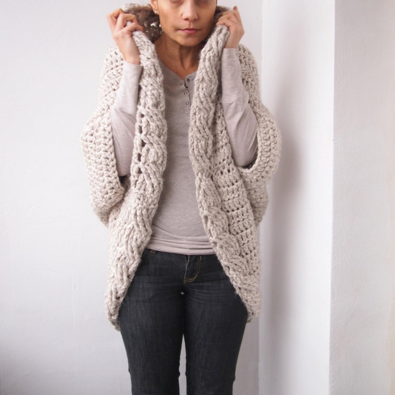 Crochet Pattern cable women cocoon shrug bulky coat cardigan