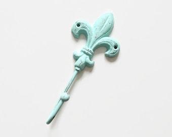 Decorative Wall Hook, Key Holder, Entryway Coat Hooks, Shabby Chic Fleur De Lis Wall Decor, New Orleans, French Country Nursery Wall Decor
